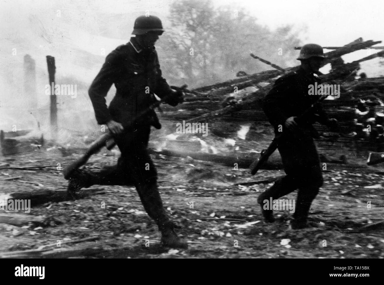 Soldiers fighting for a locality in the middle section of