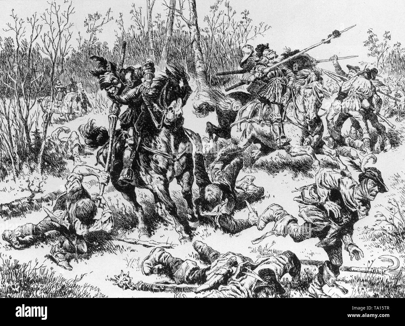Peasants' War at Leipheim. After a drawing by A. Hoffmann. - Stock Image