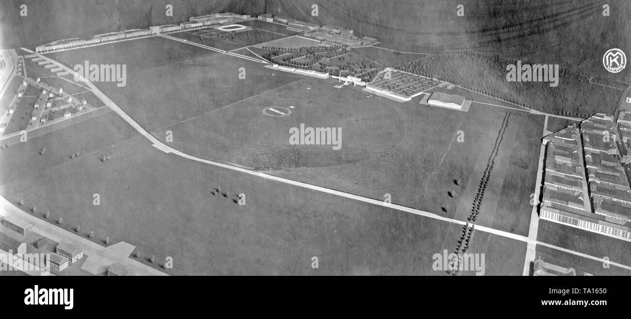 Model of the Berlin-Tempelhof Airport with surroundings. - Stock Image