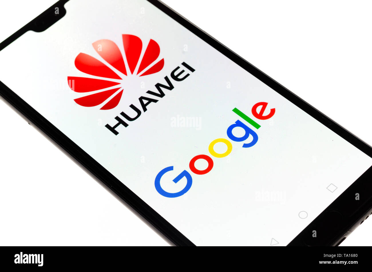 Huawei Mobile Cell Phone using Google apps, Huawei was founded in 1987 in Shenzhen, China - Stock Image