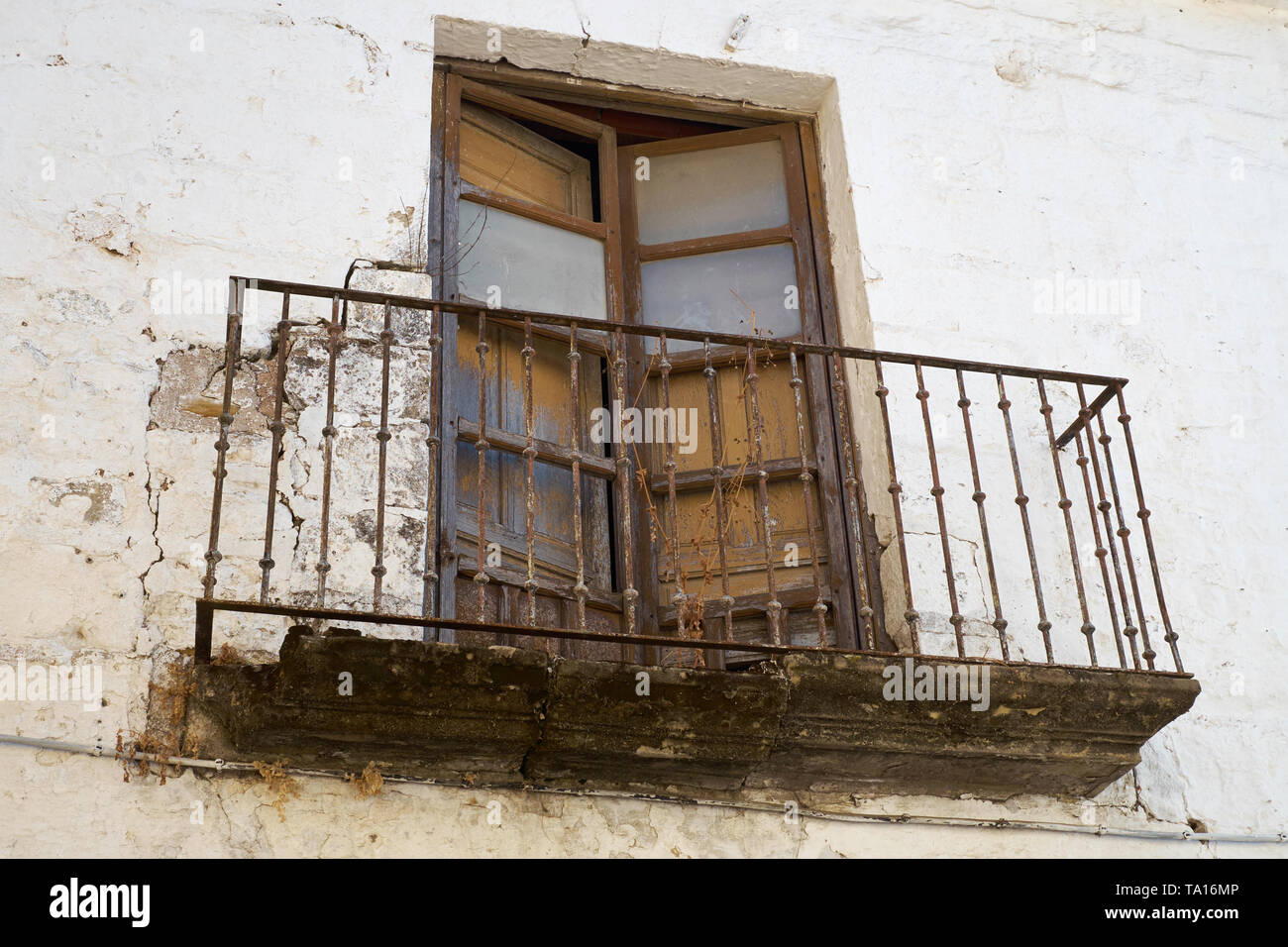 A rusty balcony. Baeza, Jaén province, Andalusia, Spain. Stock Photo