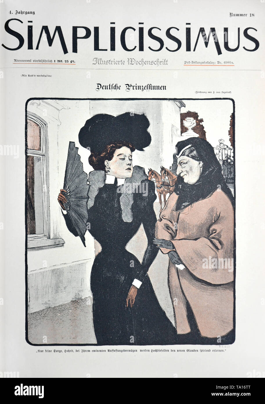 The drawing 'Deutsche Prinzessinnen' ('German Princesses') by Ferdinand von Reznicek. Cartoon from the satirical magazine 'Simplicissimus', Volume 4, Issue Number 18 (1898). Under the picture: 'Do not worry, Highness, with their eminent intelligence, they will learn the new faith playfully.' - Stock Image