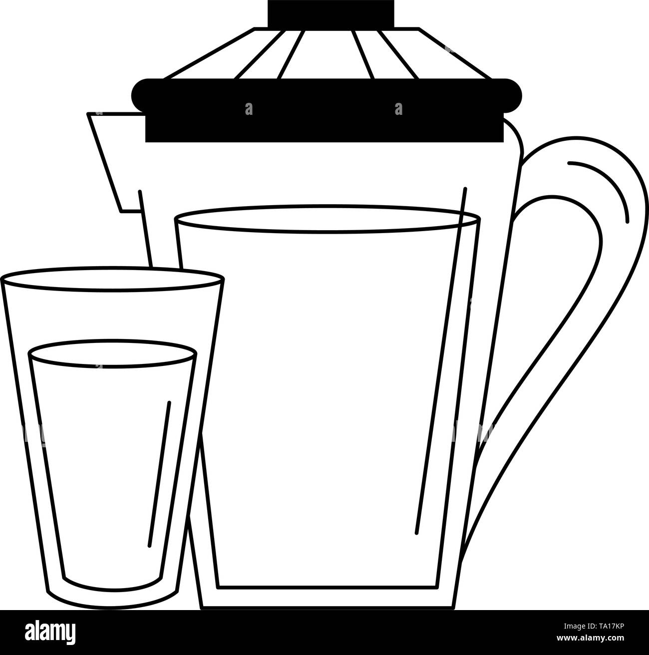 Orange juice cup and jar cartoon in black and white - Stock Image