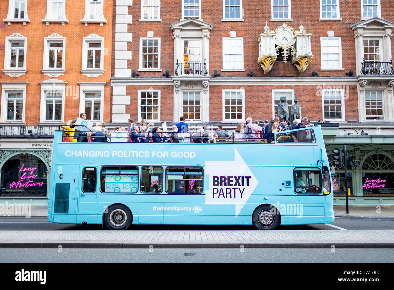 LONDON- MAY 21st 2019: The Brexit Party bus on Piccadilly in London's West End- campaigning ahead of the upcoming European elections Stock Photo