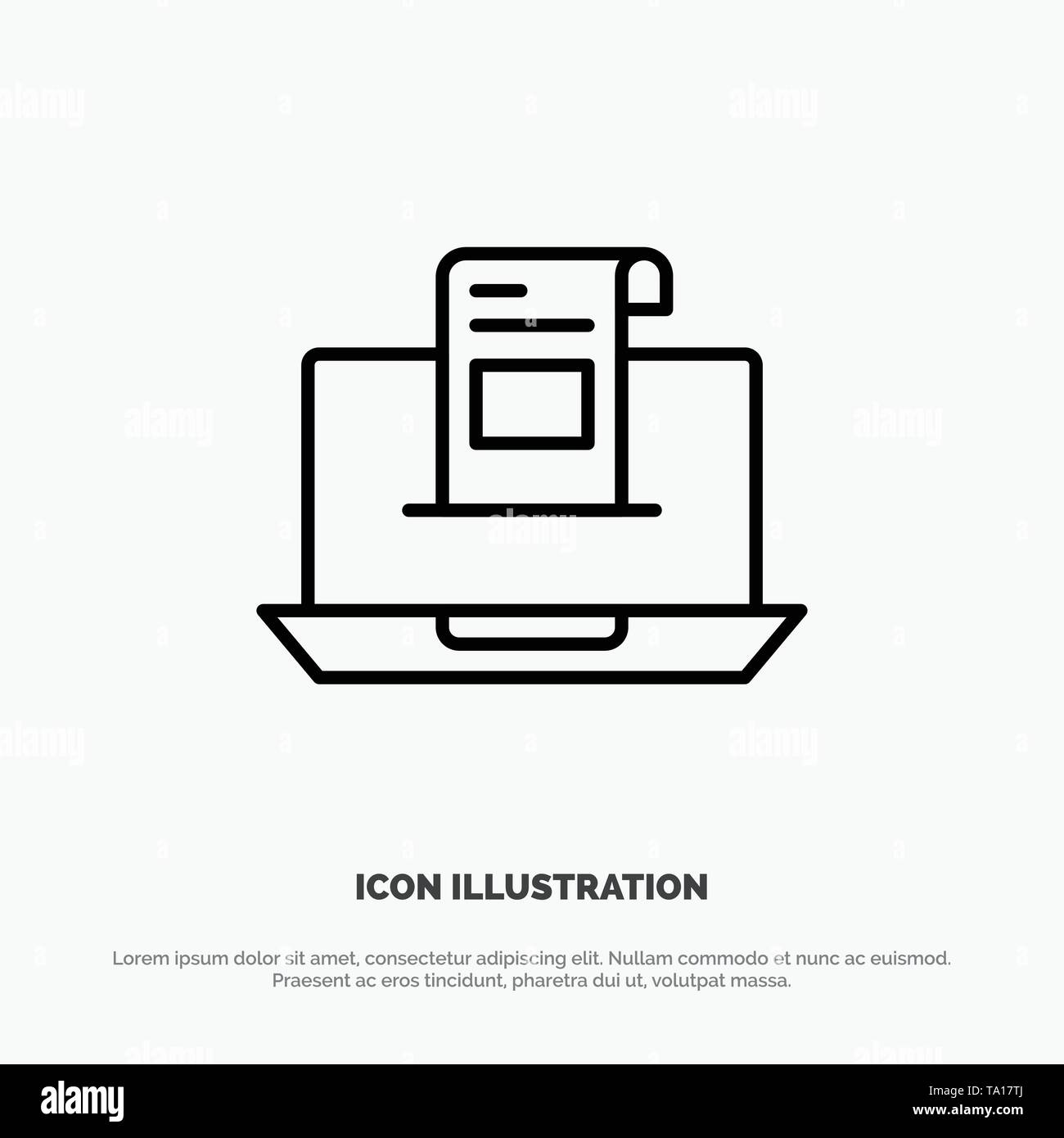 Email, Communication, Emails, Envelope, Letter, Mail, Message Line Icon Vector - Stock Image