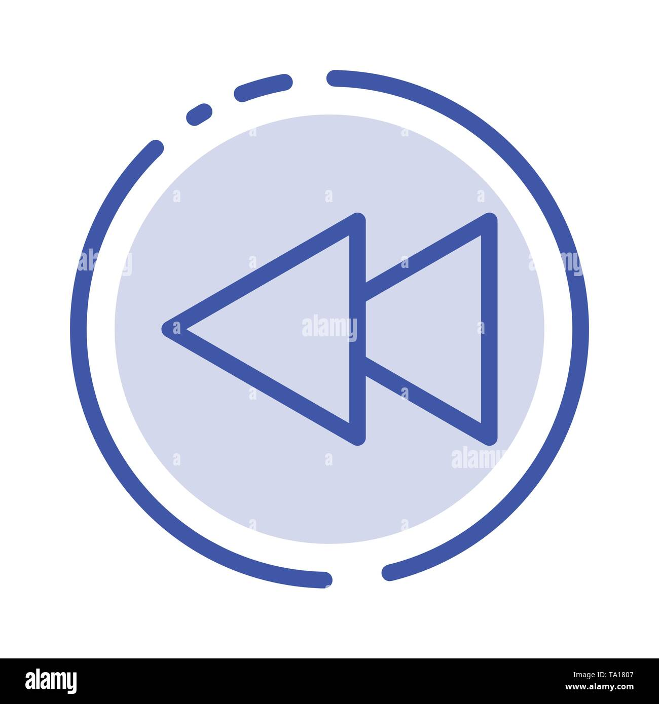 Arrow, Back, Reverse, Rewind Blue Dotted Line Line Icon - Stock Image