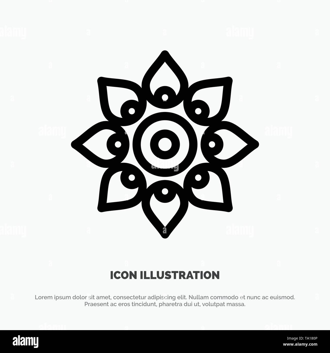 Celebrate, Decorate, Decoration, Diwali, Hindu, Holi Line Icon Vector - Stock Image