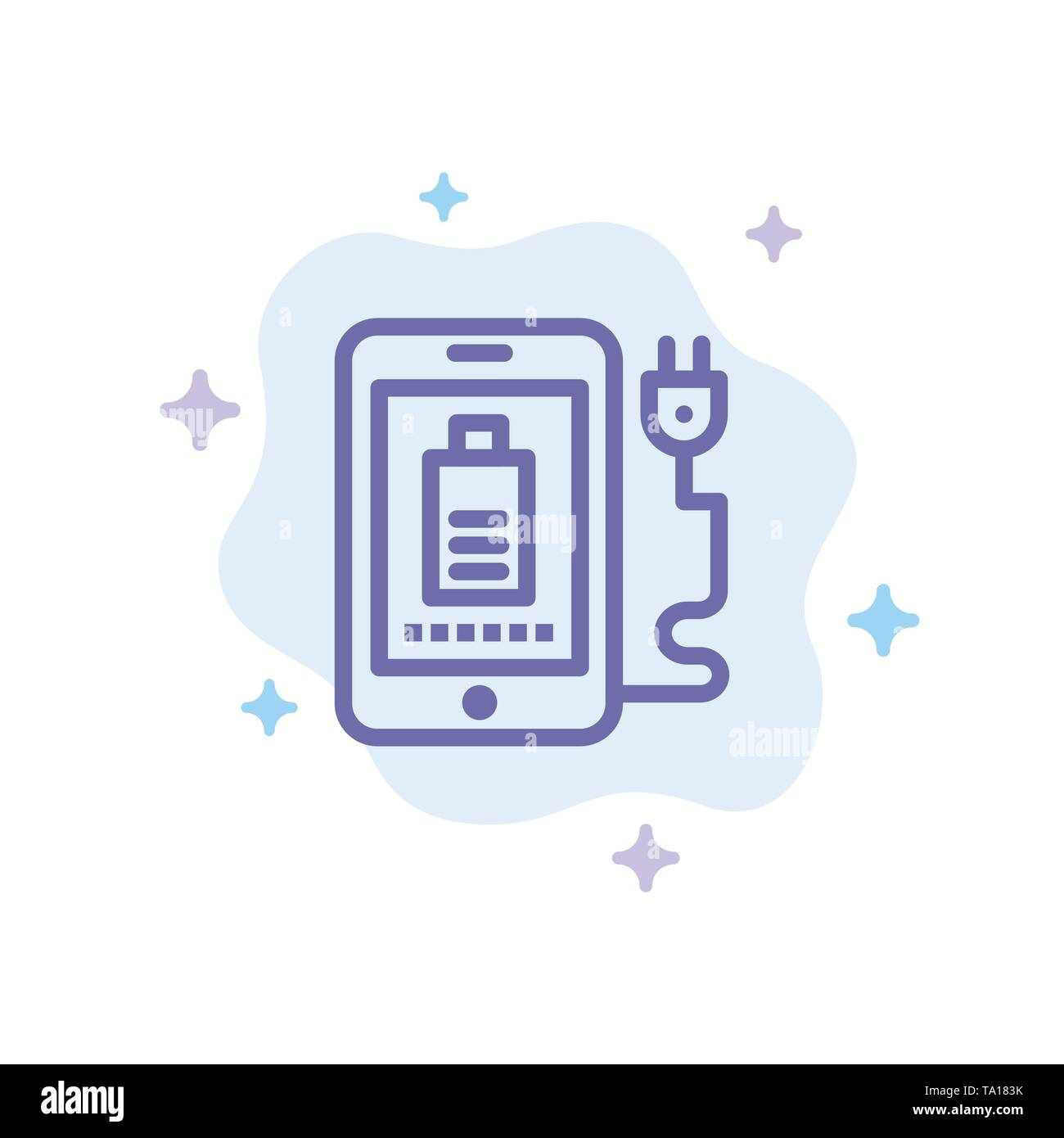 Mobile, Charge, Full, Plug Blue Icon on Abstract Cloud Background - Stock Image