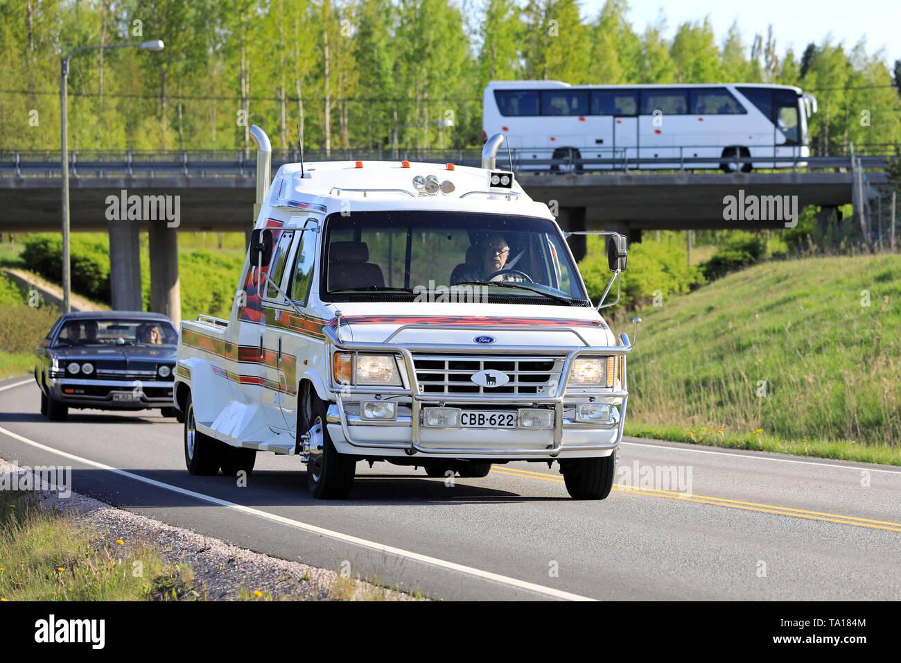 Salo, Finland. May 18, 2019. Tuned Ford Ranger pickup truck on the road on Salon Maisema Cruising 2019. - Stock Image