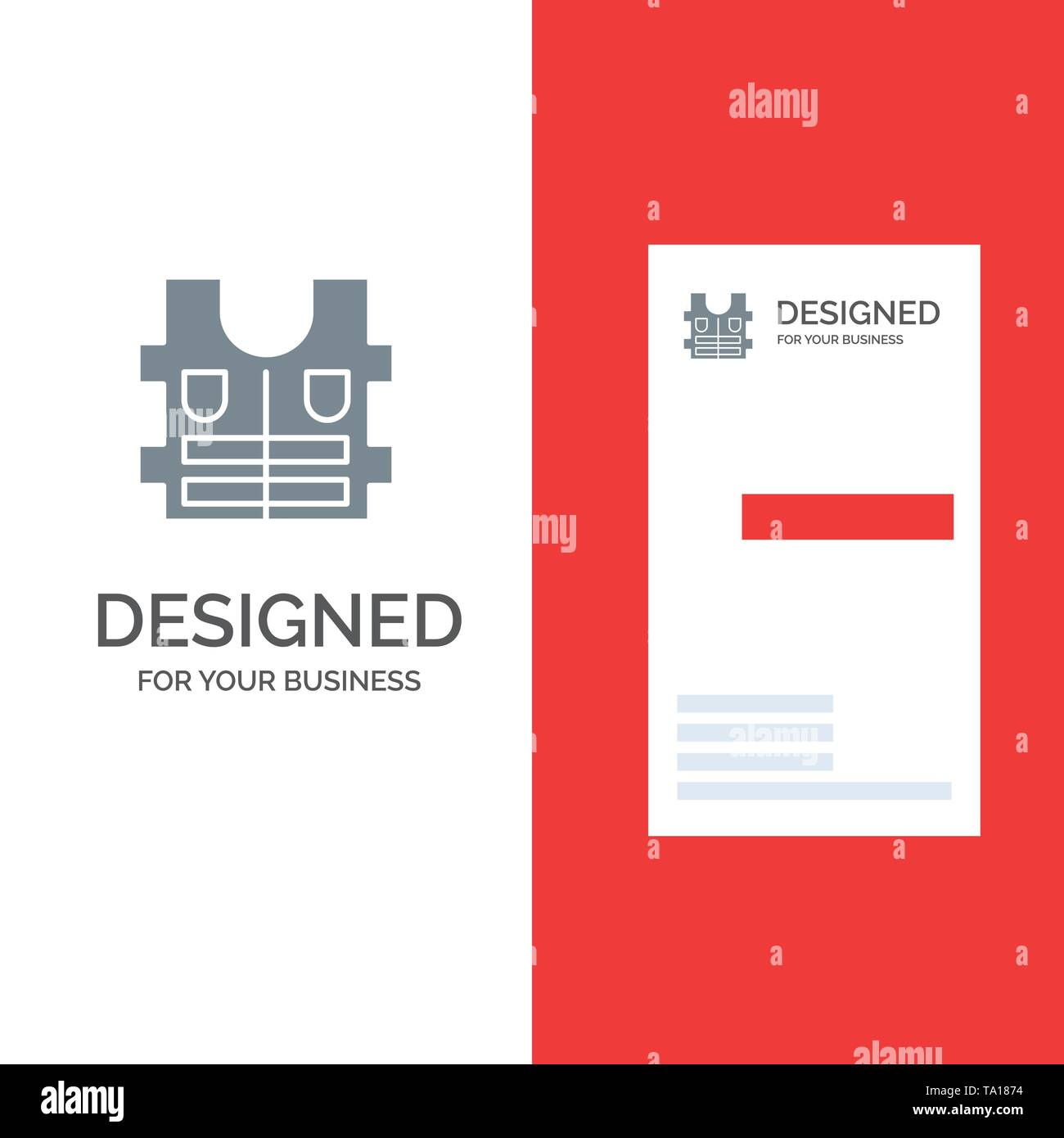 Jacket, Life, Safety Grey Logo Design and Business Card Template - Stock Image