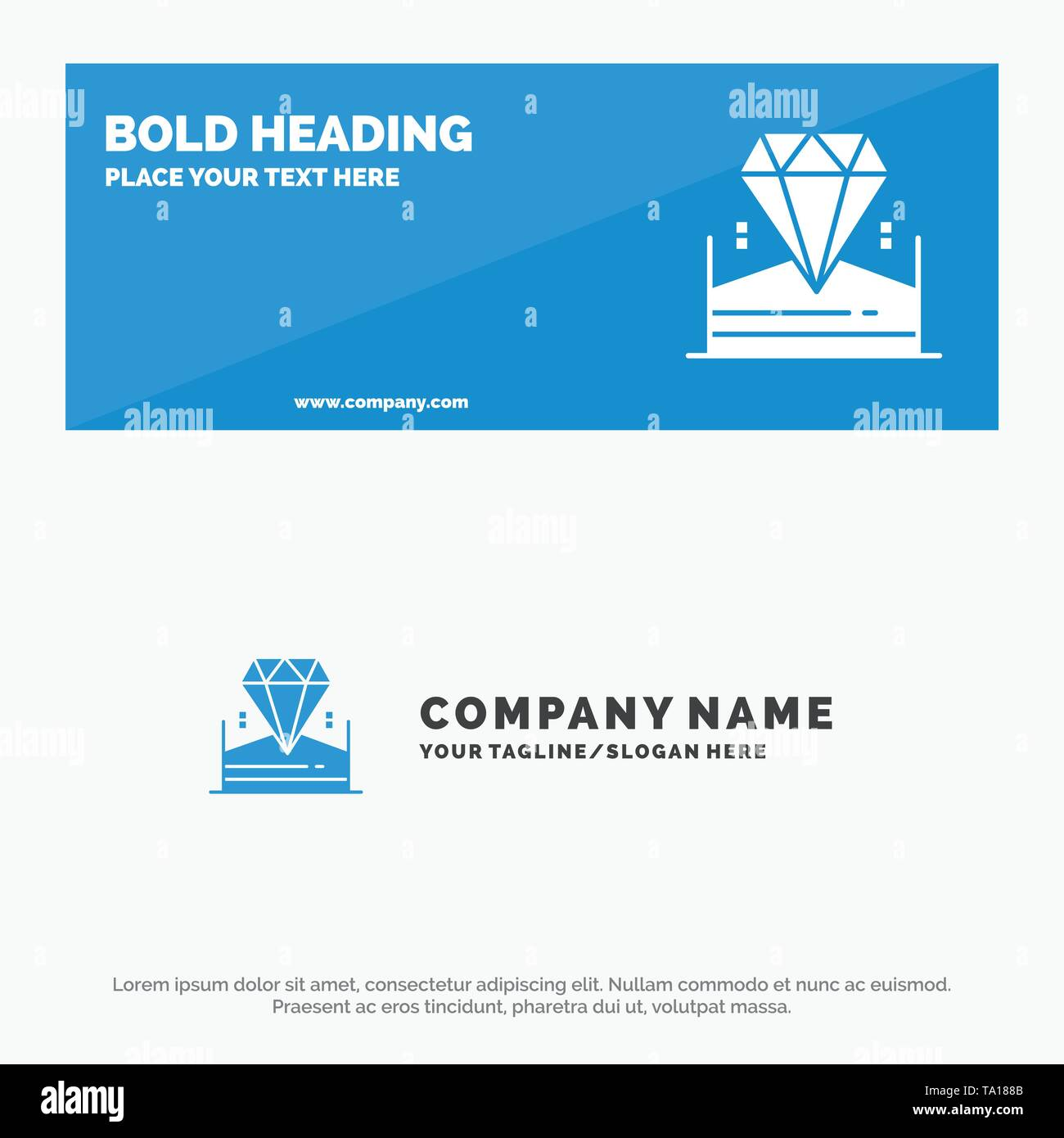 Brilliant, Diamond, Jewel, Hotel SOlid Icon Website Banner and Business Logo Template - Stock Image