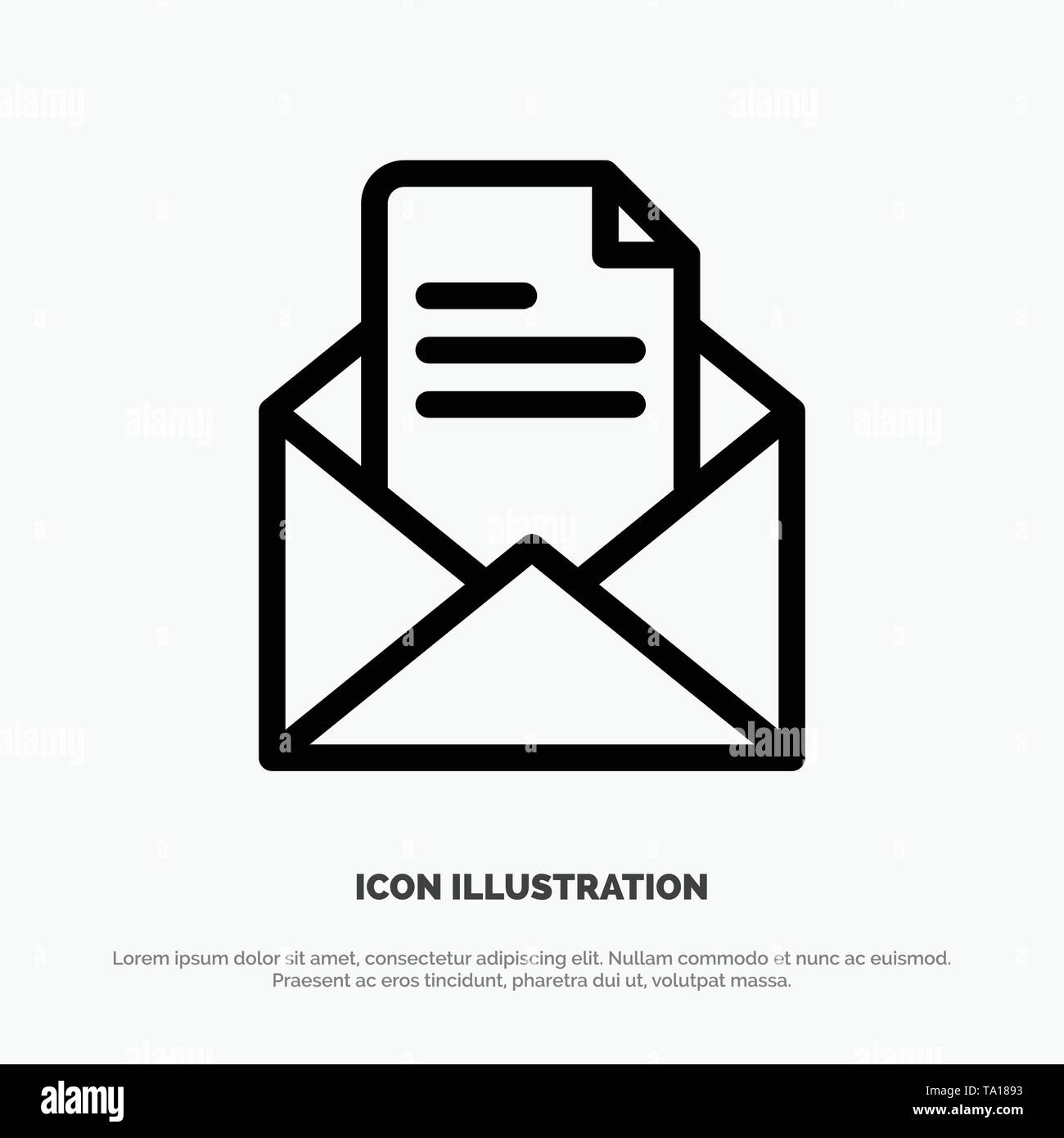Text, Mail, Office, Pencil Line Icon Vector - Stock Image