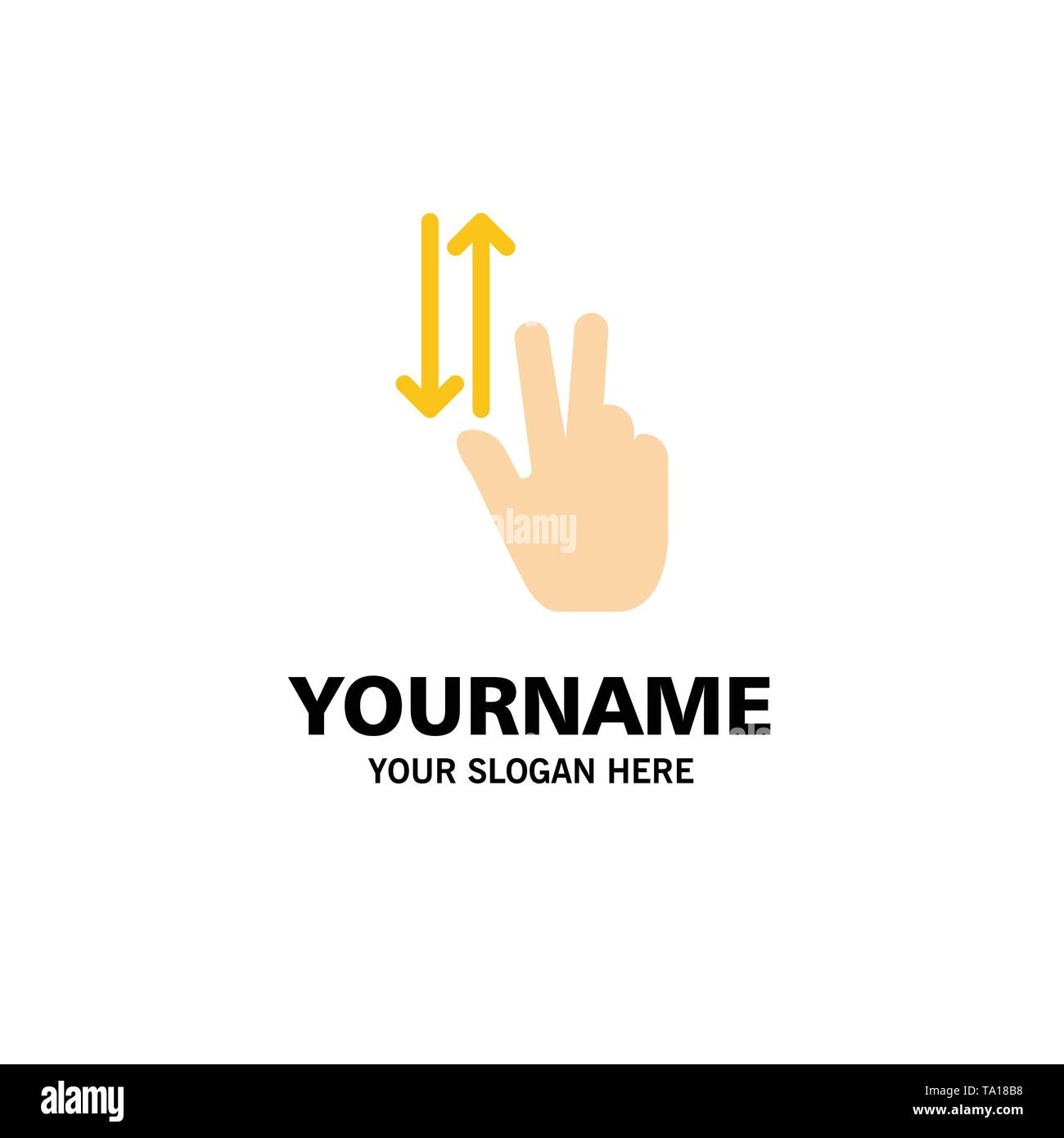 Finger, Gestures, Two, Up, Down Business Logo Template. Flat Color - Stock Image