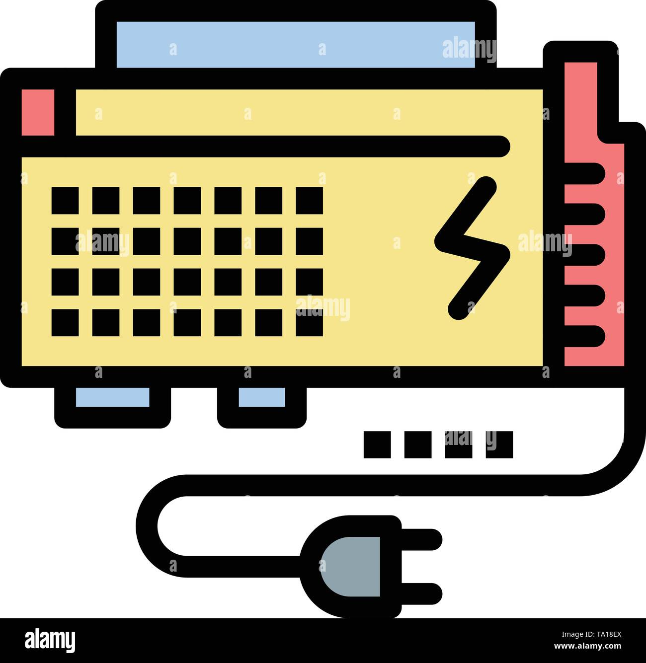 Apc, Battery, Computer, Power, Source  Flat Color Icon. Vector icon banner Template - Stock Image