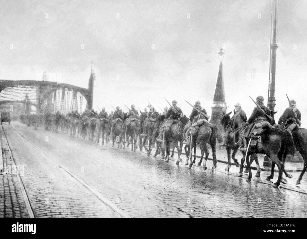 As part of the French occupation army, these soldiers occupied a Ruhr bridge shortly after the invasion of the Ruhr area. - Stock Image