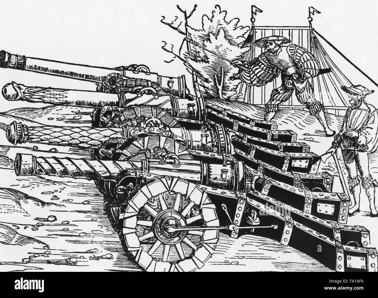 Woodcut from the 16th century, showing 4 molded and decorated cannons. - Stock Image