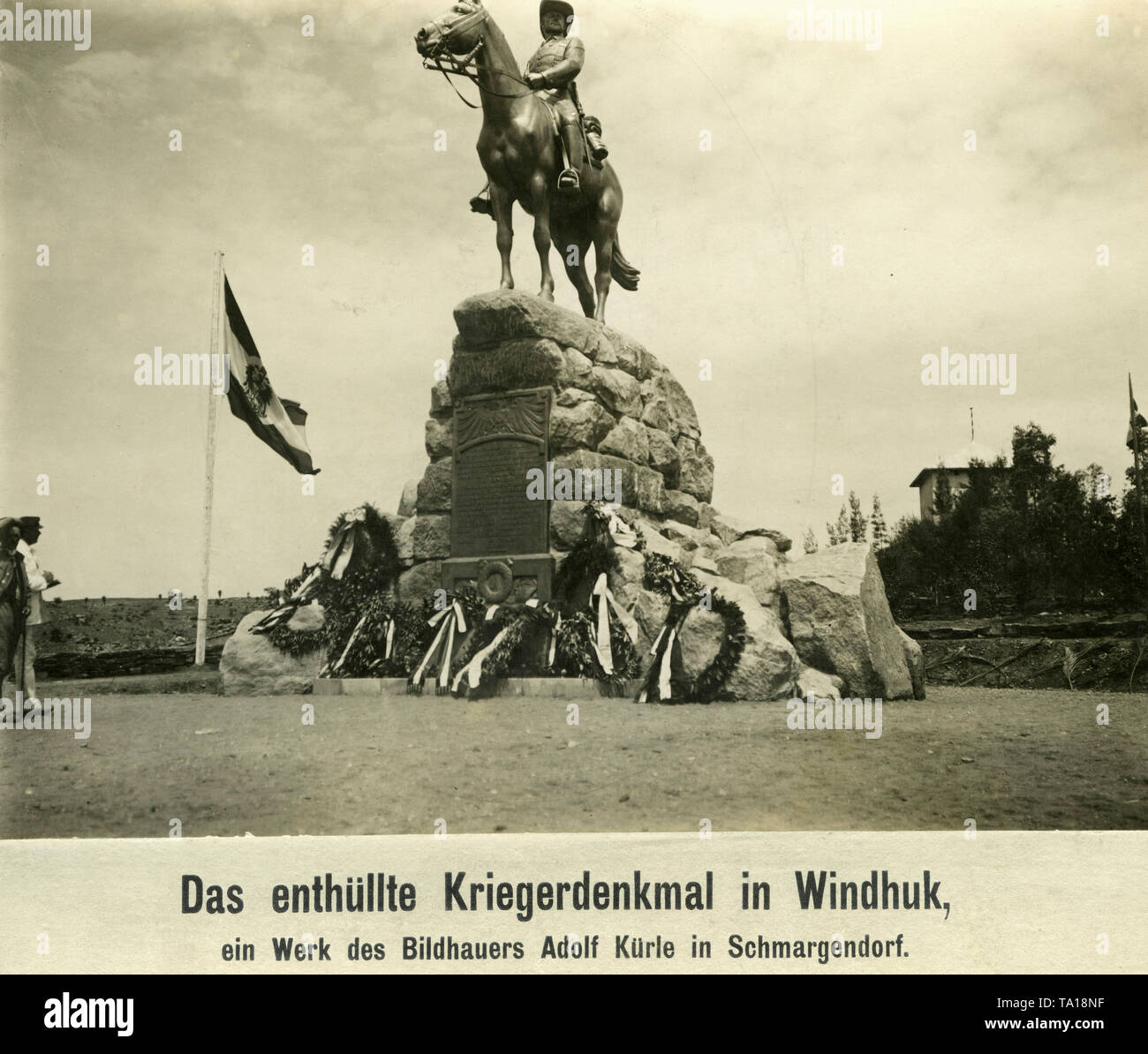 The equestrian statue is a war memorial by Adolf Kuerle and is intended to commemorate all Germans who lost their lives in the suppression of the rebellions of the Herero and Hottentots. The monument stands in Windhoek, German South West Africa and was inaugurated in 1912. - Stock Image