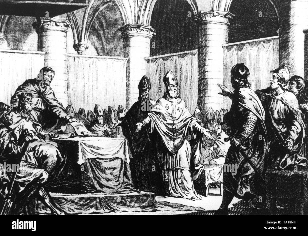 Pippin III and his brother Carloman, Mayor of the Palace of the Kingdom of the Franks, regulate at a church meeting the legal authority of the Church. The Church is given the right to demand the tithe of its subjects. By the 6th century, the office of the mayor of the palace is endowed with more and more power, and thus more and more important in the Frankish Empire. An engraving from Paris from around 1780 from the workshop of Jacques-Philippe Le Bas. - Stock Image