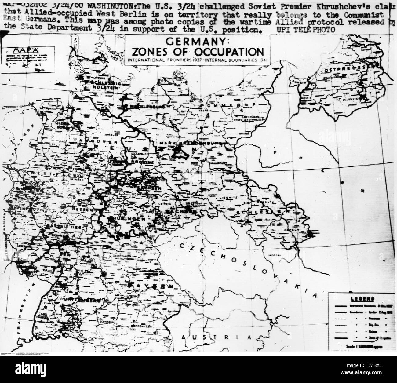Map Of Allied Occupation Zones In Germany 1945 Stock Photo Alamy