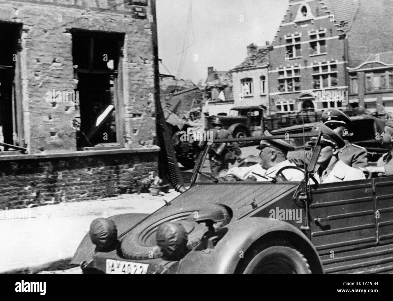 After the end of the fighting, Robert Ley drives in the truck through the streets of Dunkerque. Photo: Pfitzner - Stock Image