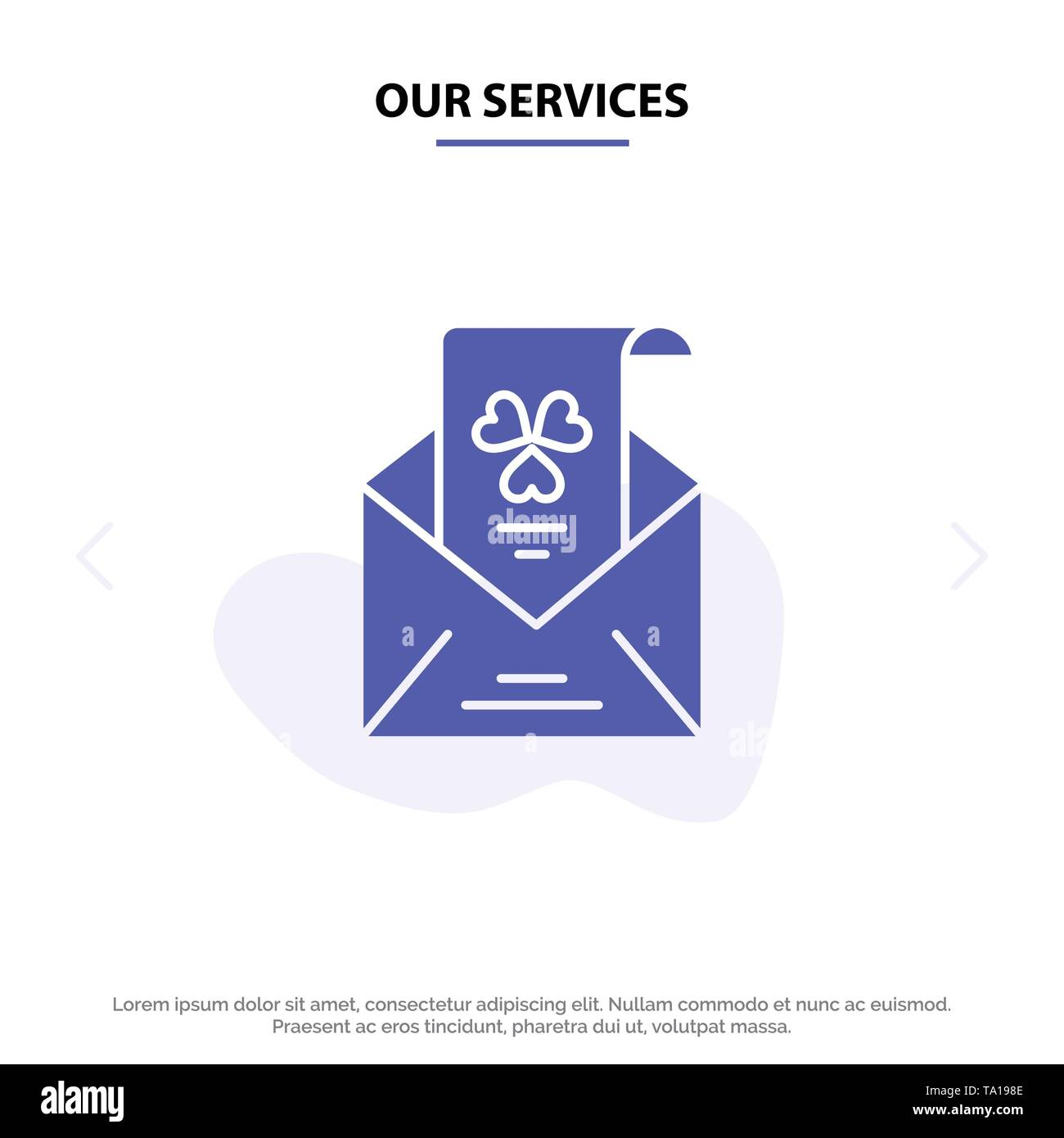 Our Services Emails, Envelope, Greeting, Invitation Solid Glyph Icon Web card Template - Stock Image