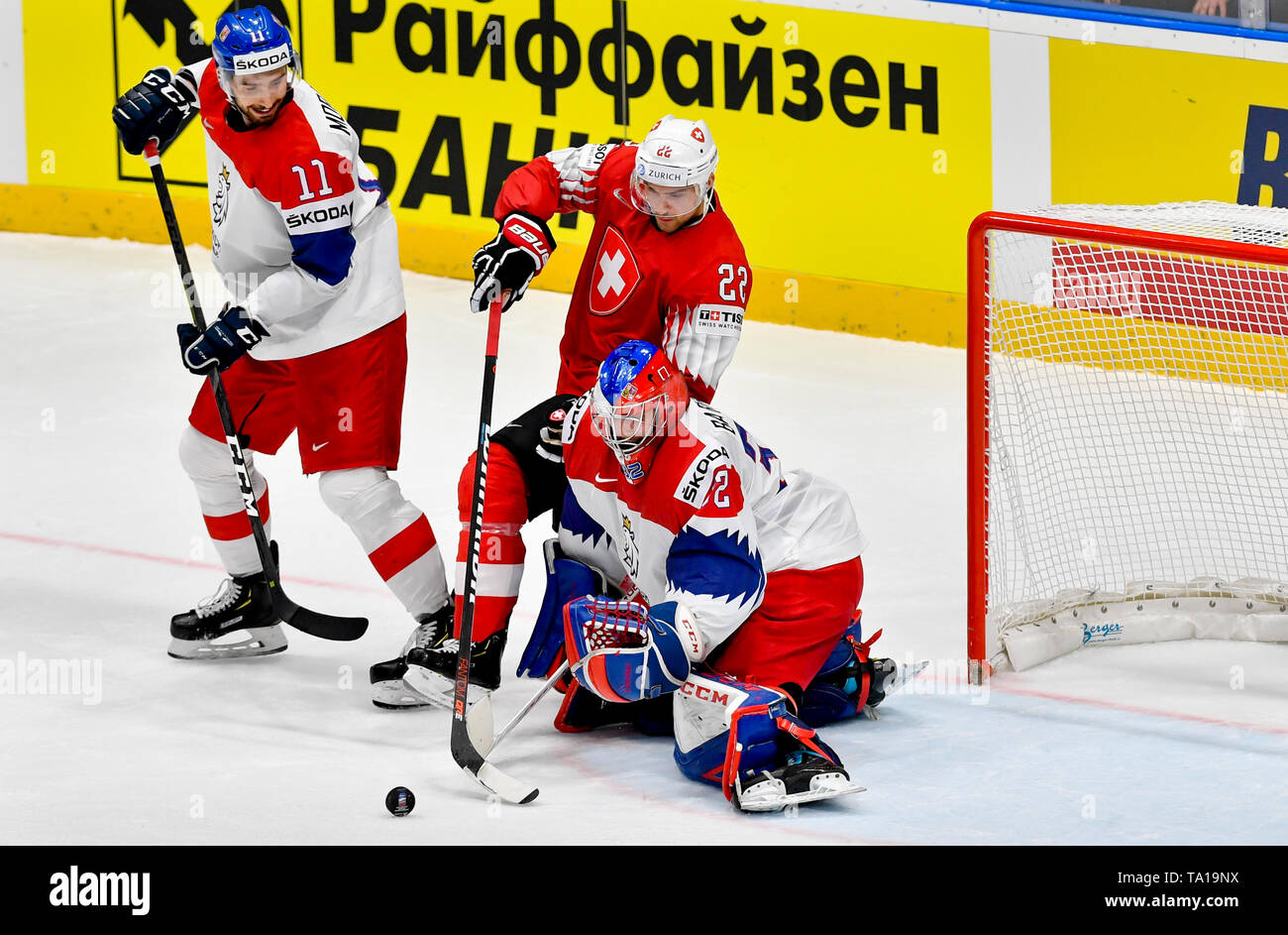 L-R Michal Moravcik (CZE), Nino Niederreiter (SUI) and Patrik Bartosak (CZE) in action during the match between Czech Republic and Switzerland within the 2019 IIHF World Championship in Bratislava, Slovakia, on May 21, 2019. (CTK Photo/Vit Simanek) Stock Photo