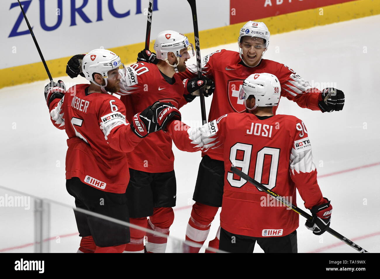 L-R Yannick Weber, Tristan Scherwey, Philipp Kurashev and Roman Josi (all SUI) celebrate Scherwey's goal during the match between Czech Republic and Switzerland within the 2019 IIHF World Championship in Bratislava, Slovakia, on May 21, 2019. (CTK Photo/Vit Simanek) Stock Photo