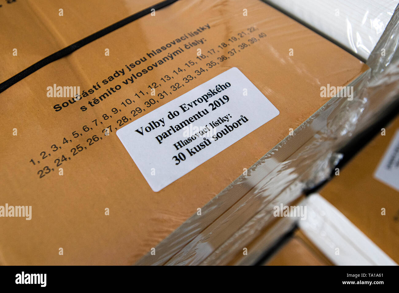 Ongoing preparations prior to the 2019 European Parliament election in the Czech Republic are seen on May 21, 2019, in Hradec Kralove, Czech Republic. (CTK Photo/David Tanecek) Stock Photo