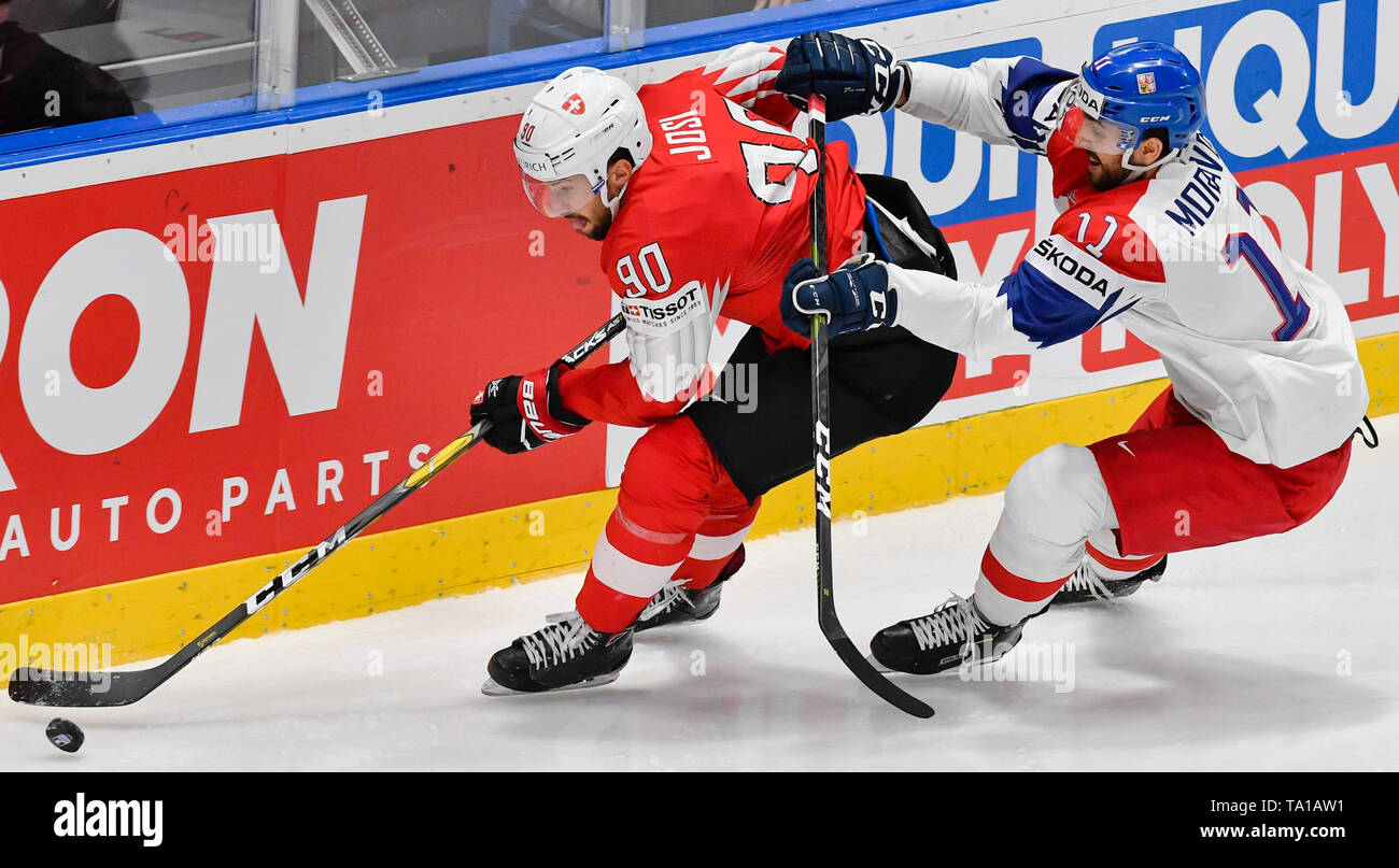 L-R Roman Josi (SUI) and Michal Moravcik (CZE) in action during the match between Czech Republic and Switzerland within the 2019 IIHF World Championship in Bratislava, Slovakia, on May 21, 2019. (CTK Photo/Vit Simanek) Stock Photo