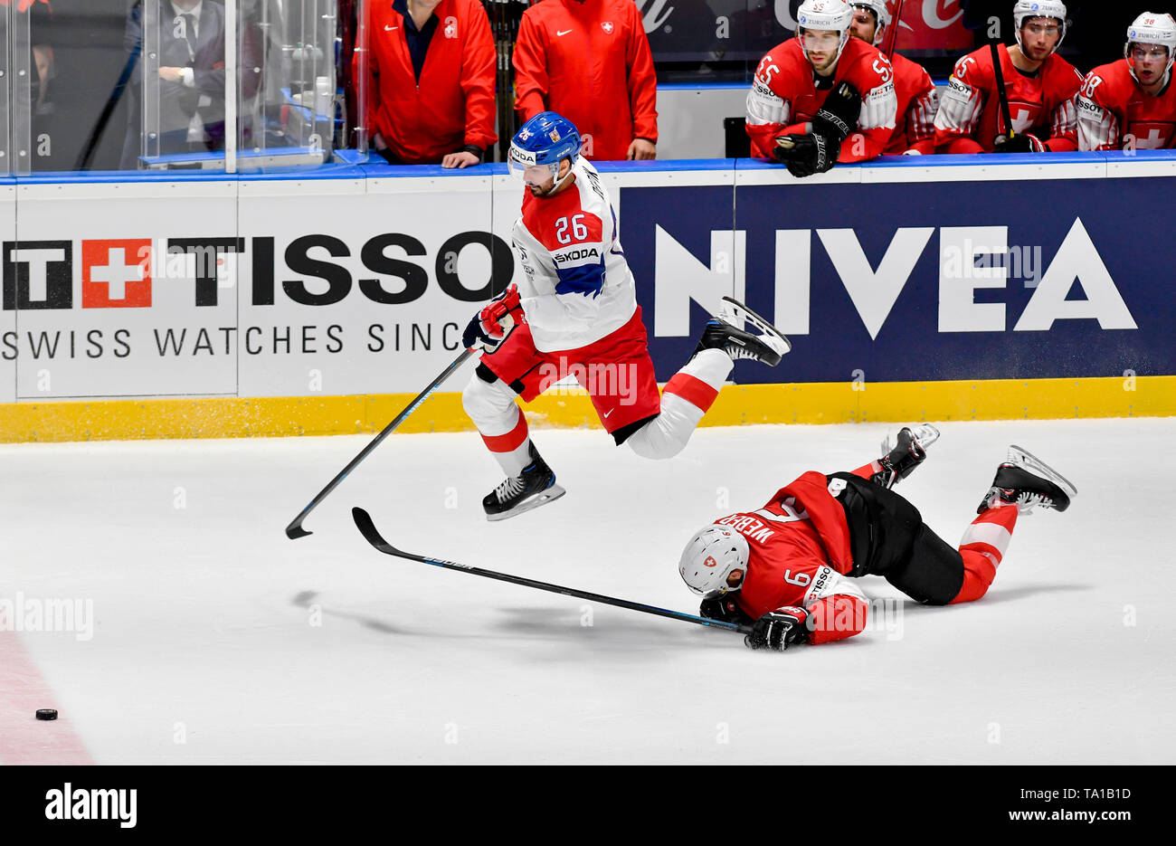 L-R Michal Repik (CZE) and Yannick Weber (SUI) in action during the match between Czech Republic and Switzerland within the 2019 IIHF World Championship in Bratislava, Slovakia, on May 21, 2019. (CTK Photo/Vit Simanek) Stock Photo