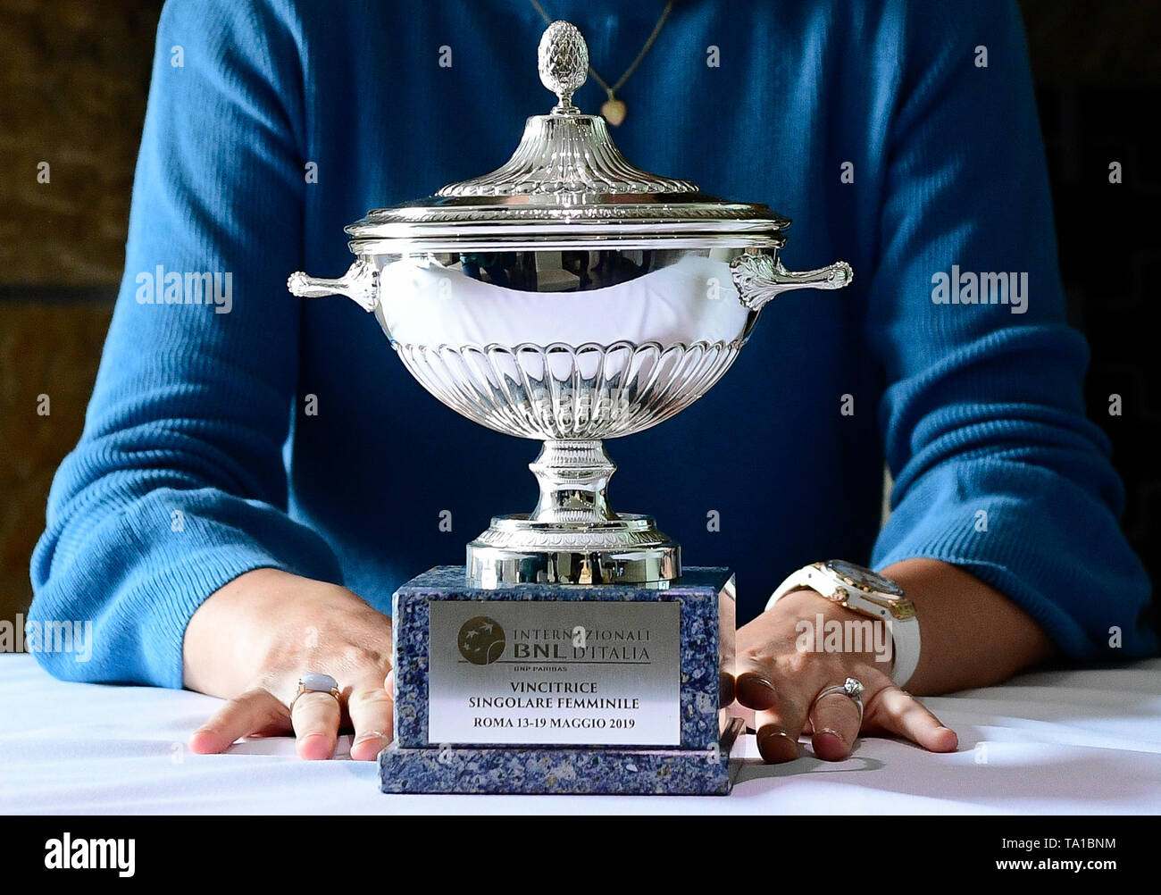 Czech tennis player Karolina Pliskova shows her trophy for victory of the Internazionali BNL d'Italia during a meeting with journalists in Prague, Czech Republic, on May 21, 2019. (CTK Photo/Roman  Vondrous) Stock Photo