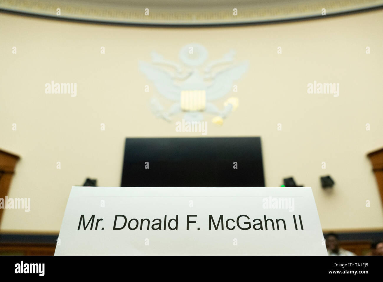Former Counsel to the President Don McGahn defied a subpoena from the House Judiciary Committee by refusing to testify on Capitol Hill in Washington D.C., U.S. on Tuesday, May 21, 2019.  Committee chairman, United States Representative Jerrold Nadler (Democrat of New York), stated that McGahn's failure to appear before the committee would result in a charge of contempt for McGahn, as well as a push to begin impeachment proceedings for United States President Donald J. Trump.   Credit: Stefani Reynolds / CNP /MediaPunch - Stock Image