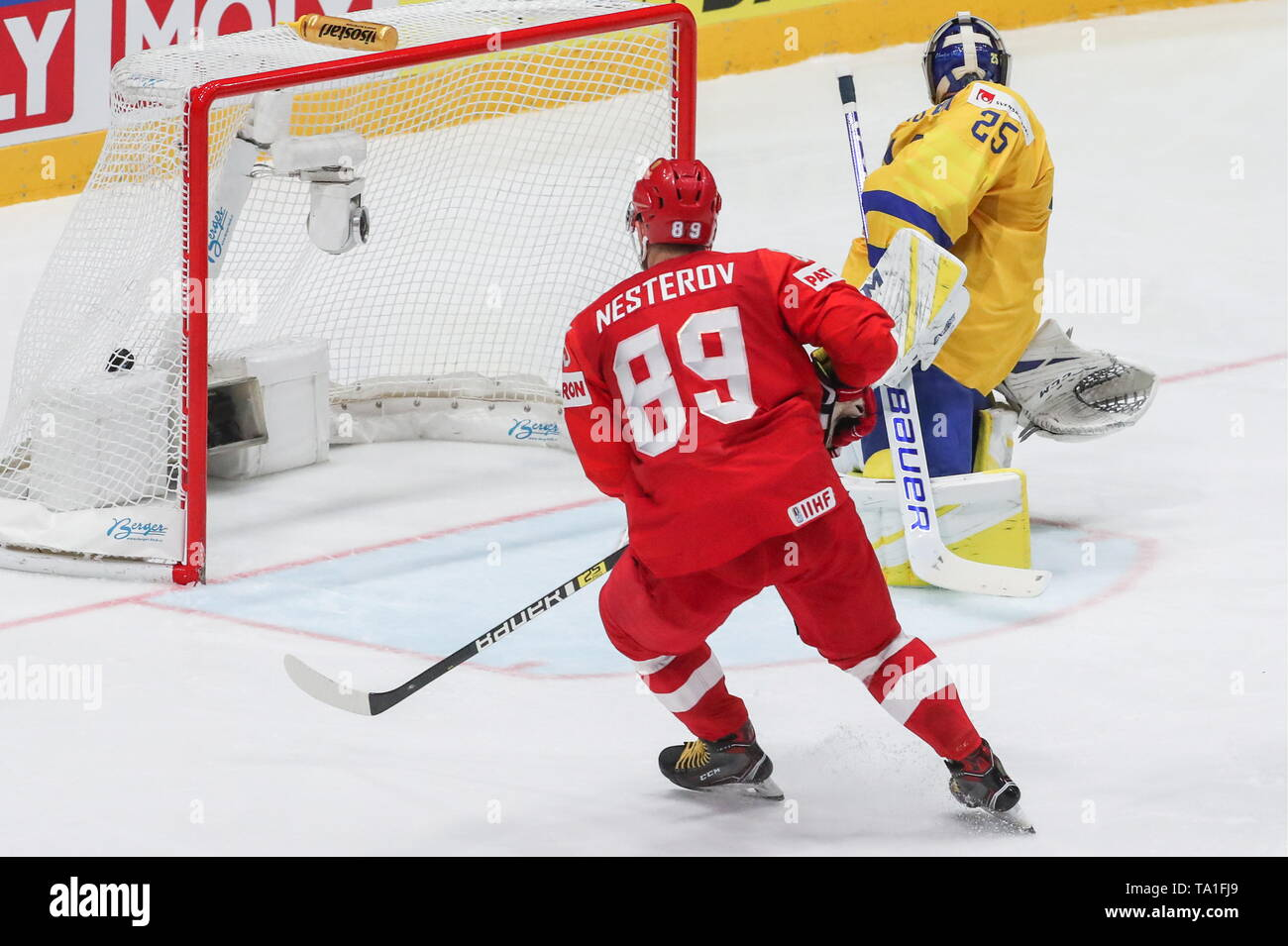 Bratislava, Slovakia. 21st May, 2019. BRATISLAVA, SLOVAKIA - MAY 21, 2019: Sweden's goalie Jacob Markstrom (R) concedes a goal in the 2019 IIHF Ice Hockey World Championship Preliminary Round Group B match against Russia at Ondrej Nepela Arena. Pictured left is Russia's Nikita Nesterov. Alexander Demianchuk/TASS Credit: ITAR-TASS News Agency/Alamy Live News - Stock Image