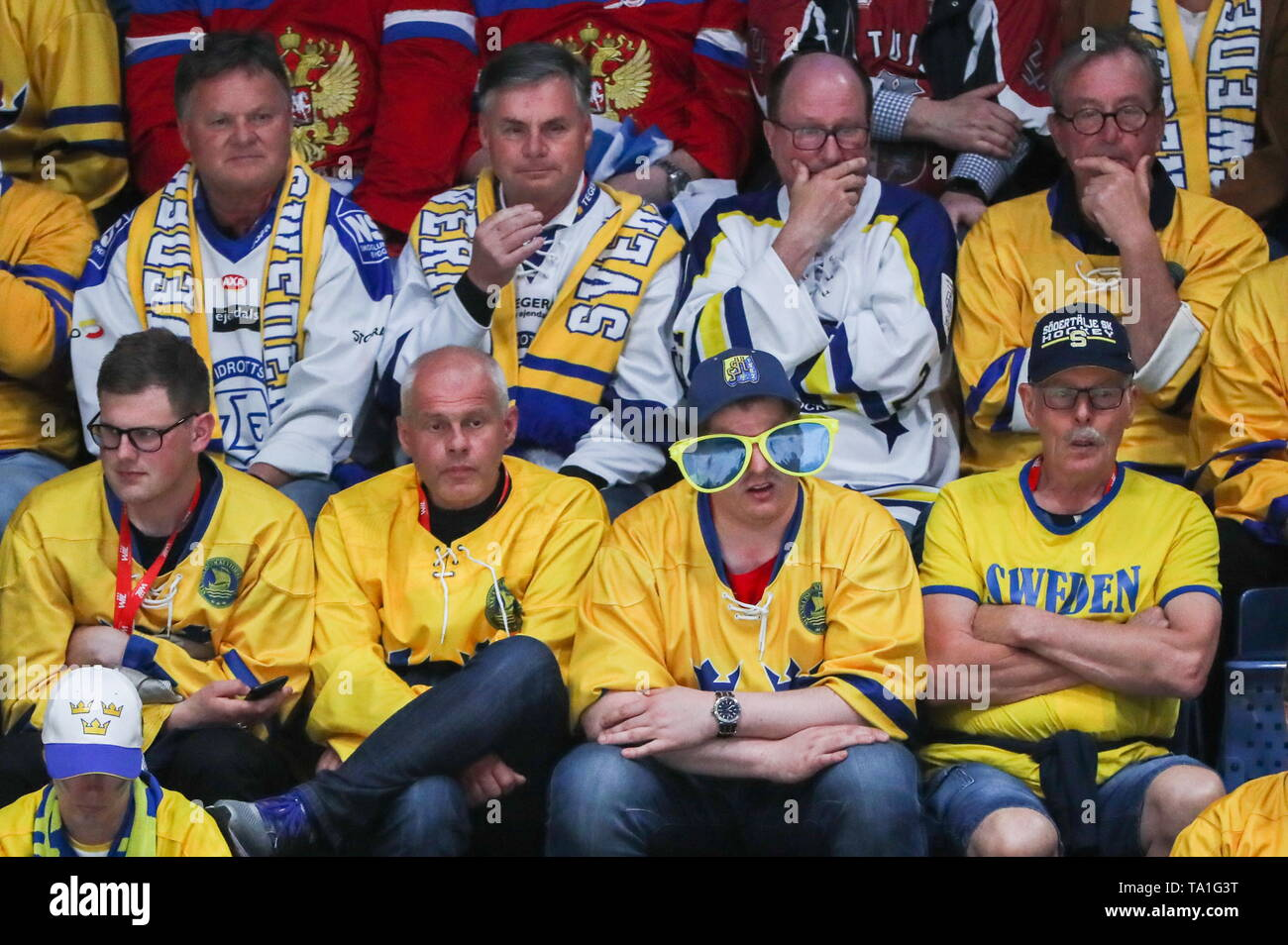 Bratislava, Slovakia. 21st May, 2019. BRATISLAVA, SLOVAKIA - MAY 21, 2019: Swedish fans during the 2019 IIHF Ice Hockey World Championship Preliminary Round Group B match between Sweden and Russia at Ondrej Nepela Arena. Alexander Demianchuk/TASS Credit: ITAR-TASS News Agency/Alamy Live News Stock Photo