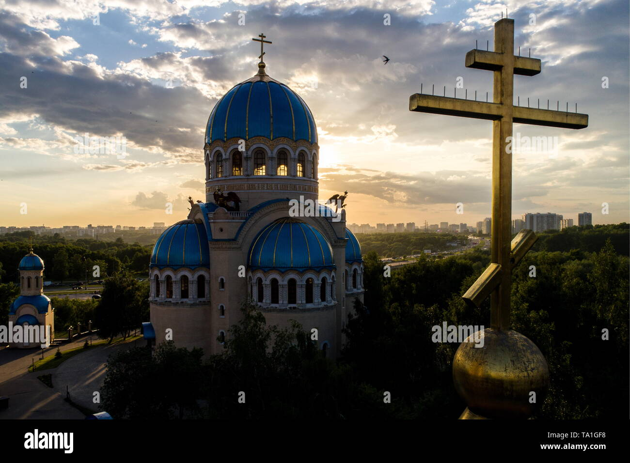 Moscow, Russia. 21st May, 2019. MOSCOW, RUSSIA - MAY 21, 2019: An aerial view of the Church of the Holy Trinity at the Borisovo Ponds built to commemorate the 1000th anniversary of the Christianization of Rus. Sergei Bobylev/TASS Credit: ITAR-TASS News Agency/Alamy Live News - Stock Image