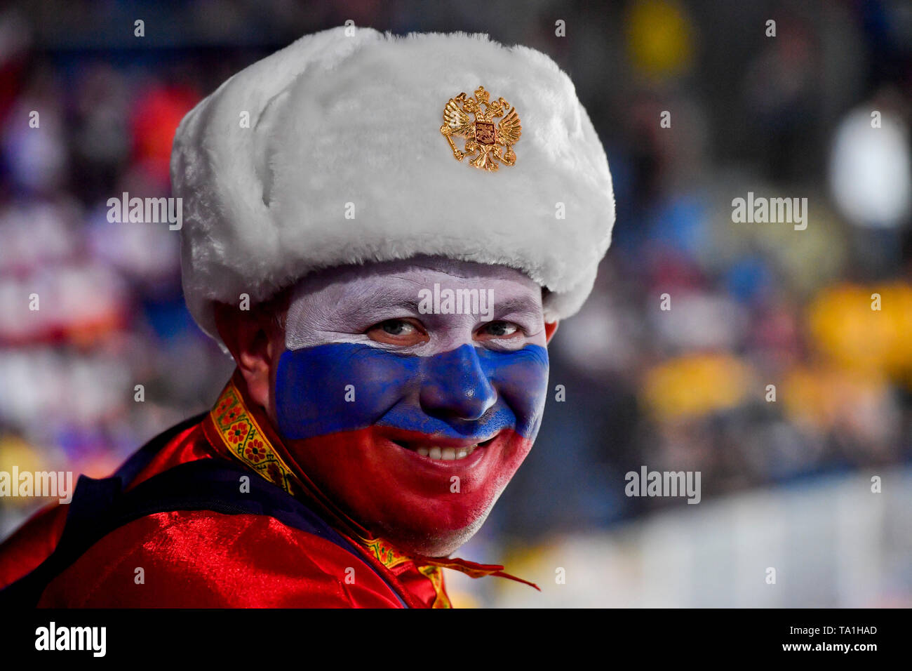 Bratislava, Slovakia. 21st May, 2019. Fans of Russia in action during the match between Sweden and Russia within the 2019 IIHF World Championship in Bratislava, Slovakia, on May 21, 2019. Credit: Vit Simanek/CTK Photo/Alamy Live News Stock Photo