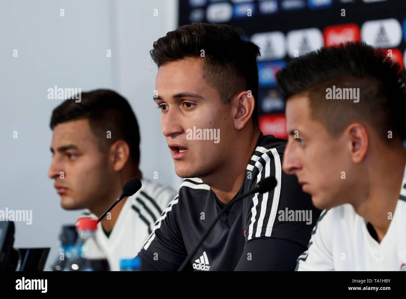 Mexico's national soccer team head coach players Alexis Vega (L