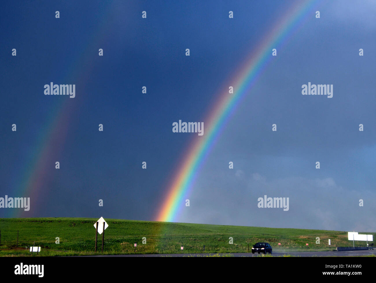 A rainbow forms from thunder storms cells east of Topeka KS Tuesday afternoon May 21, 2019. The thunder storms were moving up to 50 mph dumping more rain and strong winds with a few that went tornado warning. Severe continues to hit the mid west states this week. Photo by Gene Blevins/ZumaPress Credit: Gene Blevins/ZUMA Wire/Alamy Live News - Stock Image