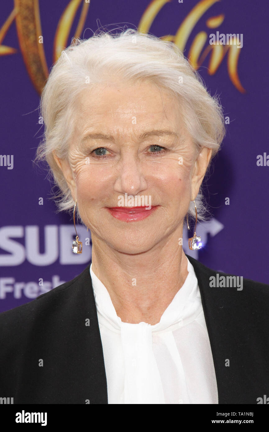 Los Angeles, USA. 21st May, 2019. Helen Mirren at The World Premiere of Disney's 'Aladdin' held at El Capitan Theatre, Hollywood, CA, May 21, 2019. Photo Credit: Joseph Martinez / PictureLux Credit: PictureLux / The Hollywood Archive/Alamy Live News - Stock Image