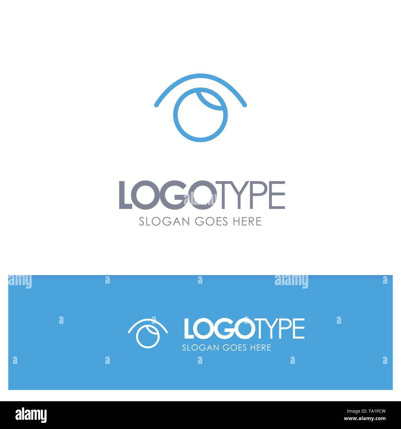 Eye, View, Watch, Twitter Blue outLine Logo with place for tagline - Stock Image