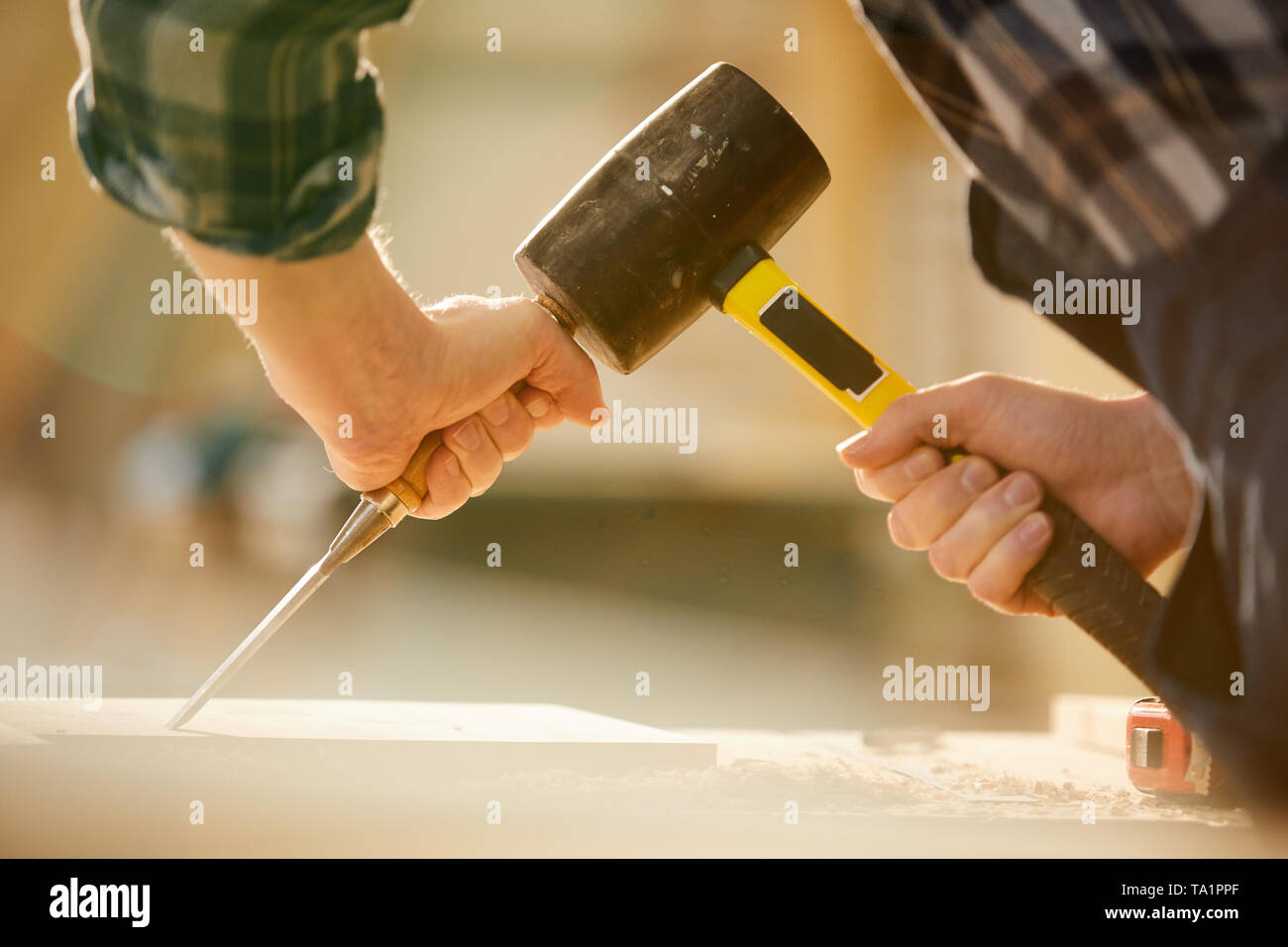 Closeup of unrecognizable carpenter hitting nail with hammer while working in joinery, copy space - Stock Image