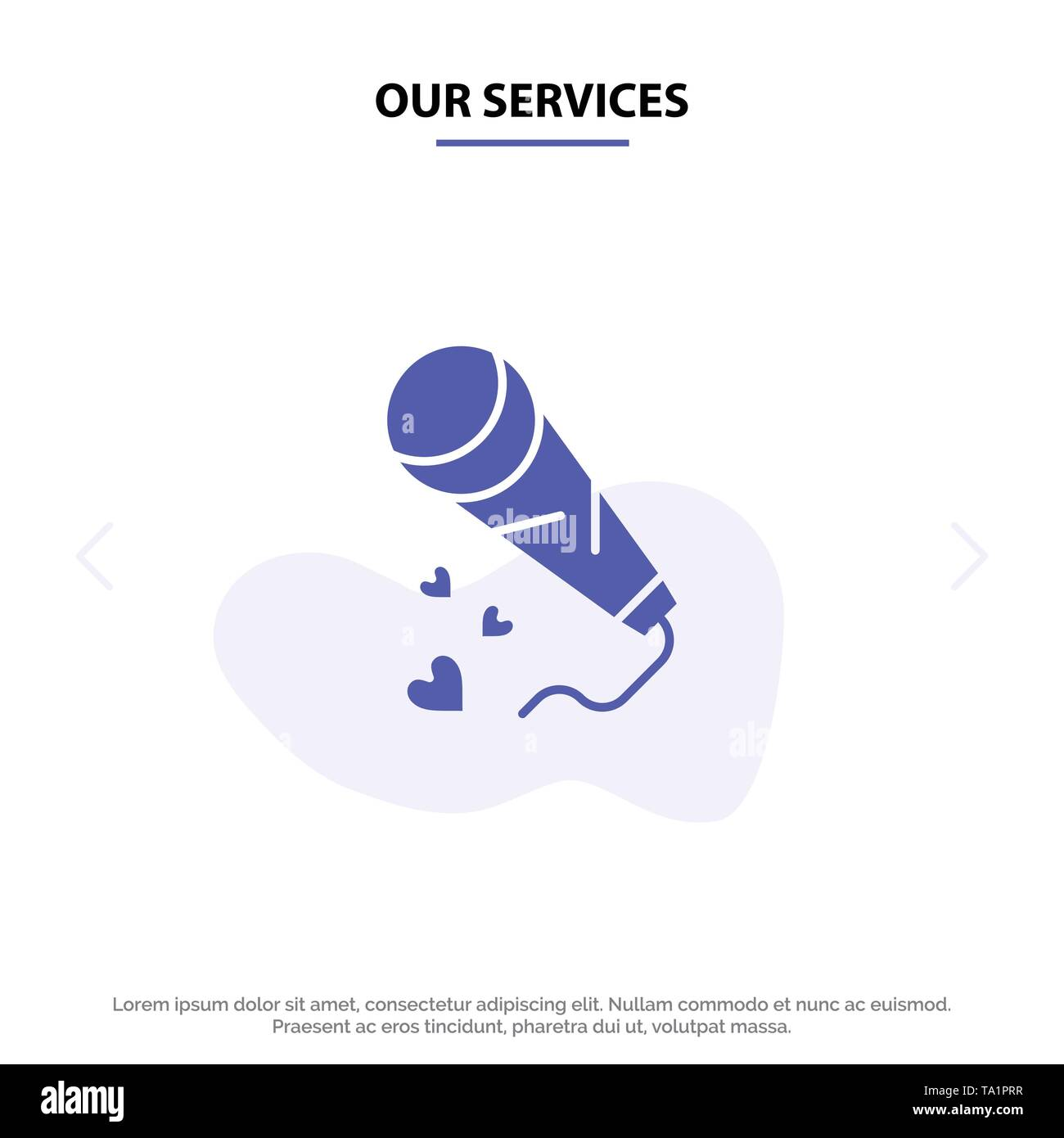 Our Services Mic, Hearts, Love, Loving, Wedding Solid Glyph Icon Web card Template - Stock Image