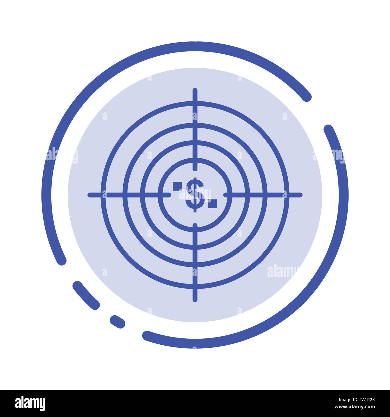 Target, Aim, Business, Cash, Financial, Funds, Hunting, Money Blue Dotted Line Line Icon - Stock Image