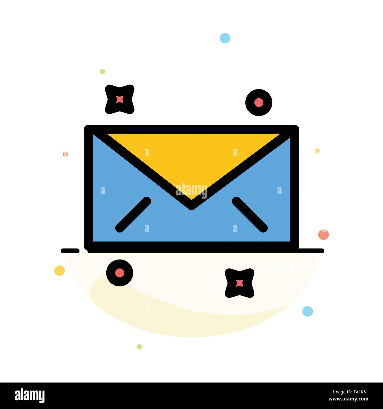 Message, Mail, Email Abstract Flat Color Icon Template - Stock Image