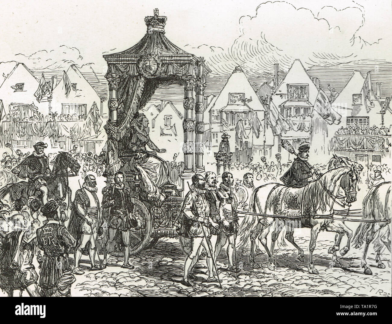 Queen Elizabeth I on her way to st Paul's Cathedral, London. Triumphal procession following defeat of the Spanish Armada in1588 - Stock Image