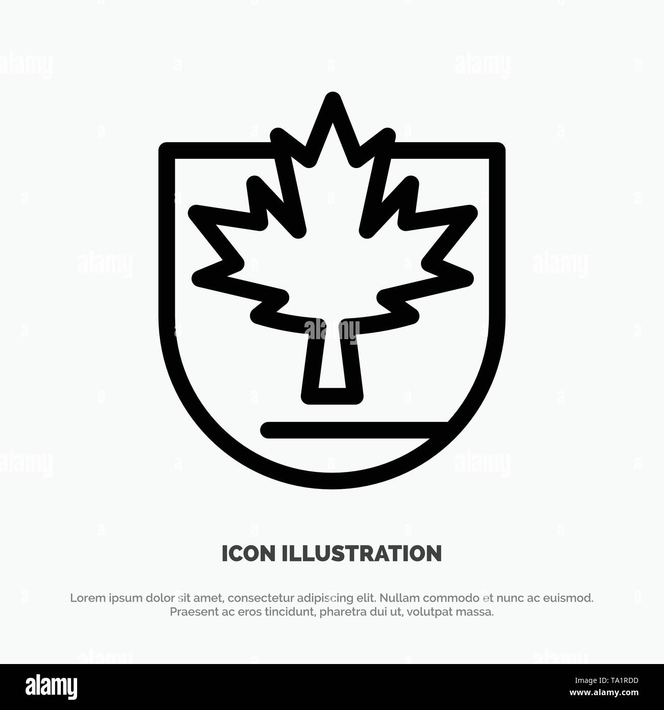 Security, Leaf, Canada, Shield Line Icon Vector - Stock Image