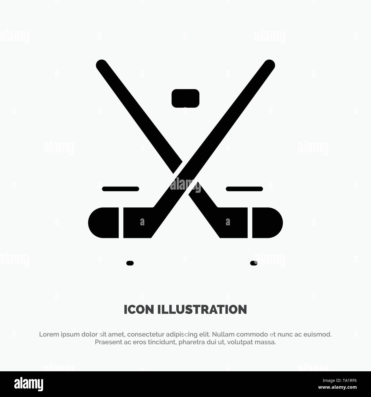 Canada, Game, Hockey, Ice, Olympics solid Glyph Icon vector - Stock Image