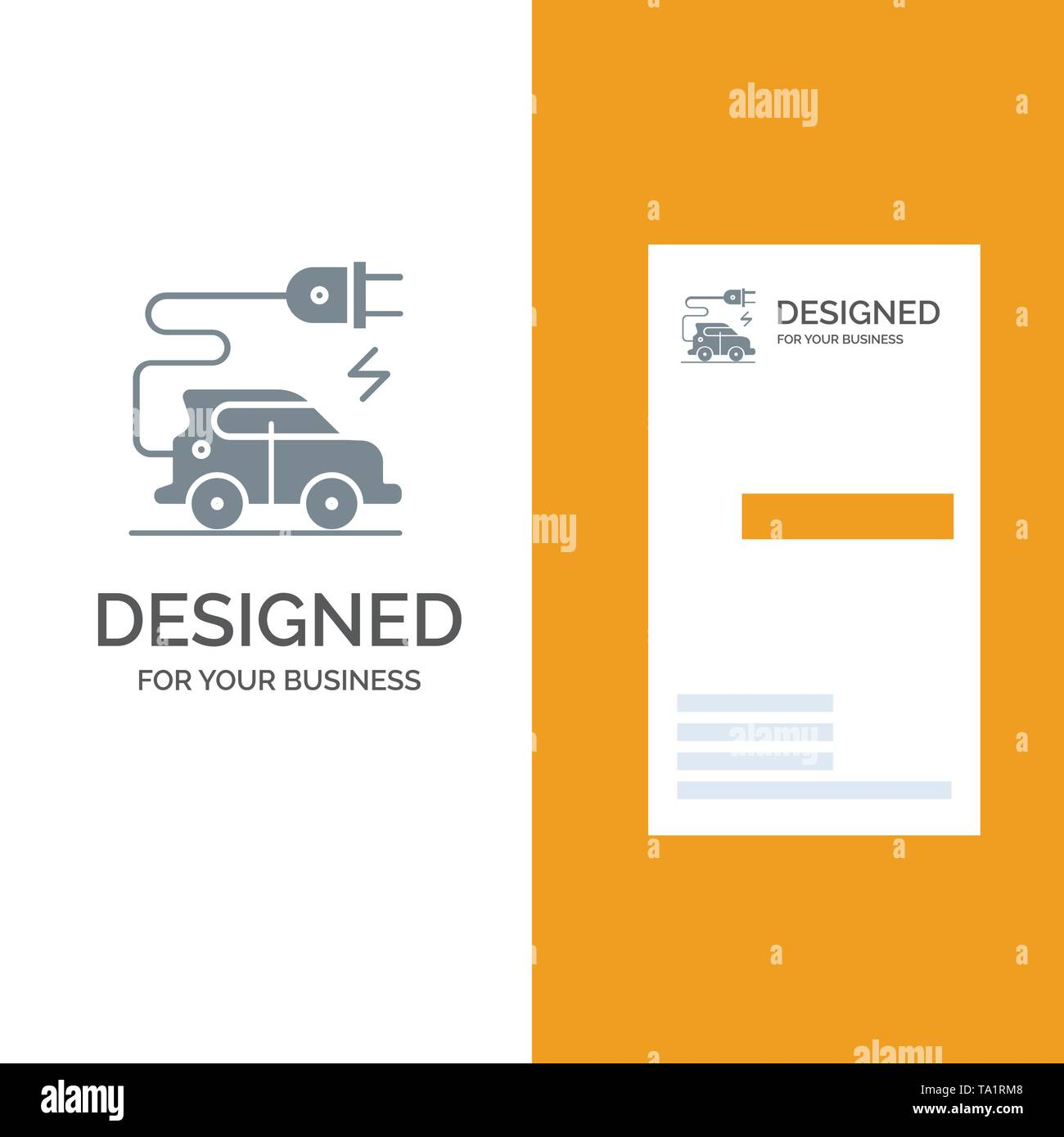Automotive Technology, Electric Car, Electric Vehicle Grey Logo Design and Business Card Template - Stock Image