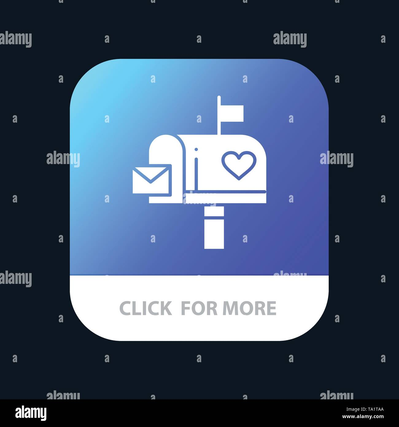 Mailbox, Mail, Love, Letter, Letterbox Mobile App Button. Android and IOS Glyph Version - Stock Image