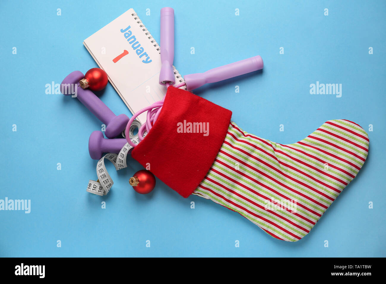 Christmas Sports Background.Composition With Christmas Stocking Sports Equipment And